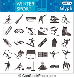 Winter sport solid icon set, Tools of winter sports symbols collection or sketches. Extreme sports glyph style signs for web and app. Vector graphics isolated on white background