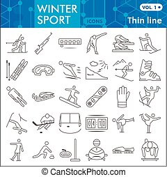 Winter sport thin line icon set, Tools of winter sports symbols collection or sketches. Extreme sports linear style signs for web and app. Vector graphics isolated on white background