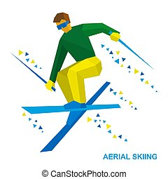 Winter sports: Aerial skiing. Freestyle skier during a jump