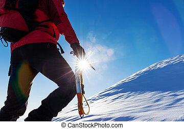 winter, sports:, alps., bovenzijde, besneeuwd, piek, klimmer, extreem