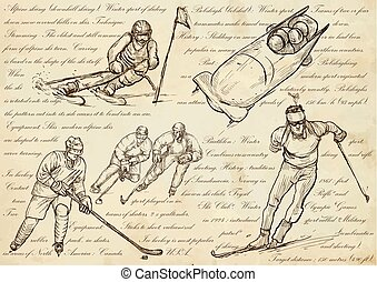 Winter sports - An hand drawn vector illustrations, line art
