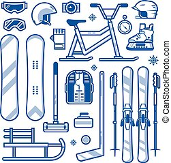 Winter Sports and Activities Equipment Icons