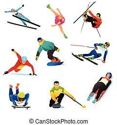 Winter Sports Cliparts Icons - A vector illustration of...