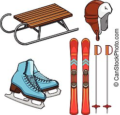 Winter sports collection. - Equipment elements isolated on...
