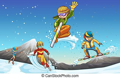 Different kind of winter sports