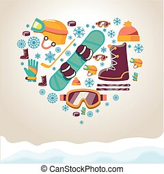 Winter Sports equipment background. snowboard and hockey...