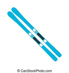 Winter sports equipment on white background. Flat isolated skiing. Vector Illustration.