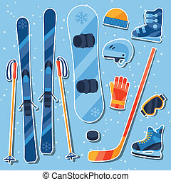 Winter sports equipment sticker icons set in flat design...