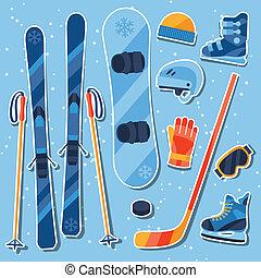 Winter sports equipment sticker icons set in flat design ...