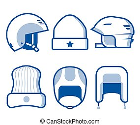Winter Sports Head Wear Line Icons - Extreme sport head wear...