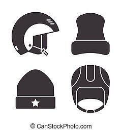 Winter Sports Head Wear Outline Icons - Winter sport head ...