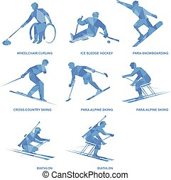 Winter sports icon set. Eight silhouettes of athletes with disabilities.