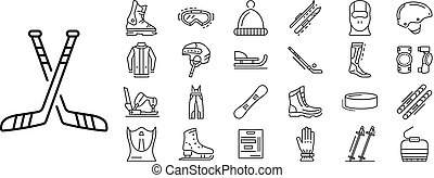 Winter sports icon set, outline style