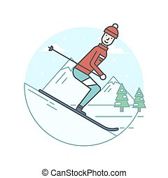 Winter sports icons - Vector illustration of the man skiing...