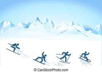 winter sports in the mountains.eps