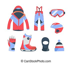 Winter sports objects, equipment collection, vector icons, flat style.