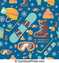 Winter sports seamless pattern icons.