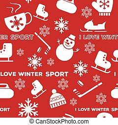 Winter sports seamless pattern red