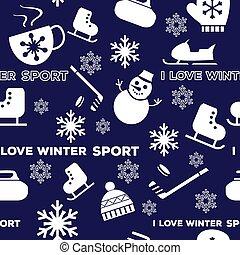 Winter sports seamless pattern
