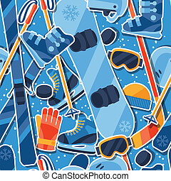 Winter sports seamless pattern with equipment sticker icons.