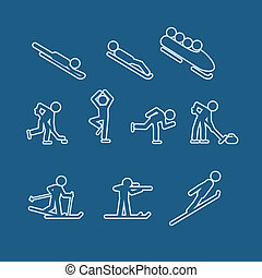 Winter sports silhouettes vector collection