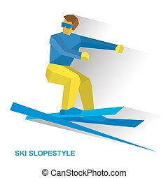 Winter sports - Ski Slopestyle. Freestyle skier jumps an obstacle