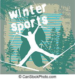 winter sports skier vector art