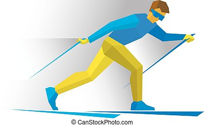 Winter sports - Skiing. Cartoon skier running.