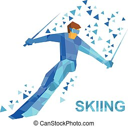 Cartoon skier with blue patterns running downhill