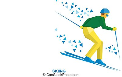 Winter sports - Skiing. Skier running downhill.