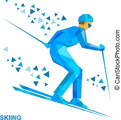 Skier with blue patterns running downhill