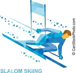 Winter sports - slalom skiing. Cartoon skier running downhil