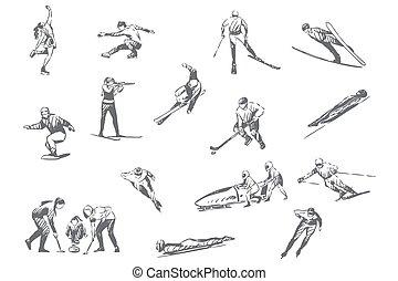 Winter sports, sportive activities concept sketch
