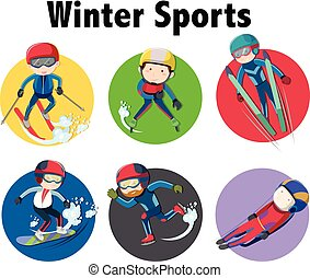Winter sports sticker design with athletes on different equipments