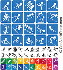 Winter Sports Symbols - Set of 20 pictograms of the Olympic...