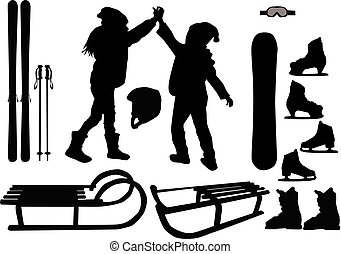 Winter sports - vector icons.