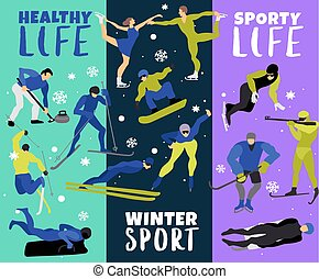 Winter Sports Vertical Banners