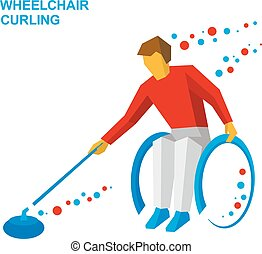 Winter sports - wheelchair curling. Curler with disabilities.