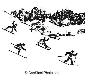 Winter sports white on black
