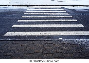 winter, städtisch, crosswalk., scene.