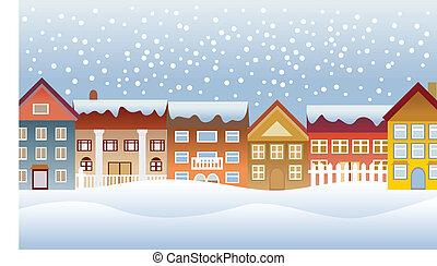 winter, stad