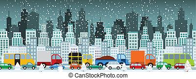(winter), stad, jam, verkeer
