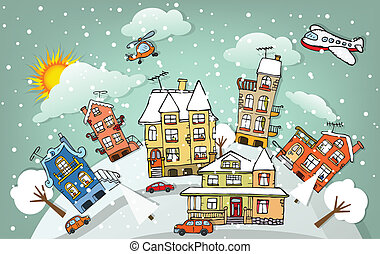 (winter), stad, spotprent