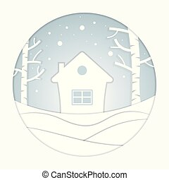 winter., stadt, ansichten, haus, snow., dorf