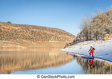 winter stand up paddling in Colorado