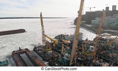 winter standing of logistic ships, aerial filming - winter...
