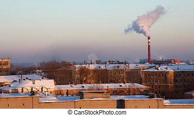 winter, stedelijk landschap, en, pijp