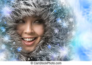 Winter - Creative photo of laughing woman framed by...