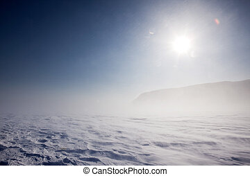 Winter Storm - Blowing snow across a desolate winter...
