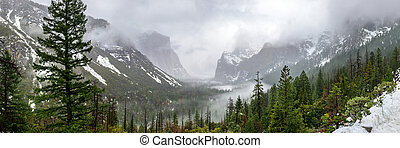 Winter Storm From Tunnel View Pano